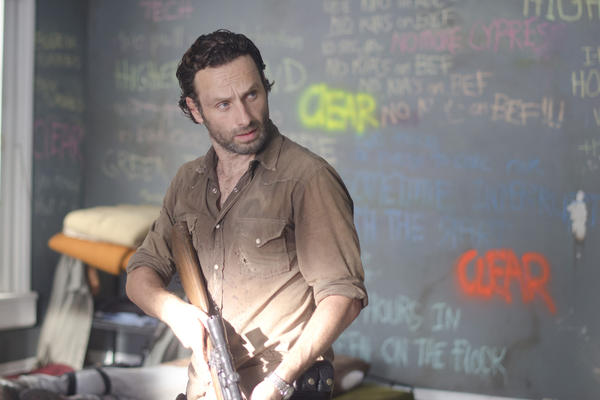 Rick Grimes (Andrew Lincoln) knows crazy when he sees it. And writing all over your walls in multicolored chalk is definitely crazy.