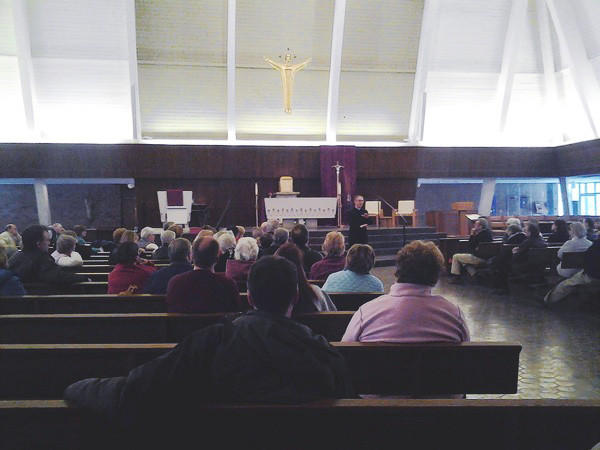 Parishioners filled St. Margaret Church in Bel Air for an open discussion on Pope Benedict and other church issues Sunday.