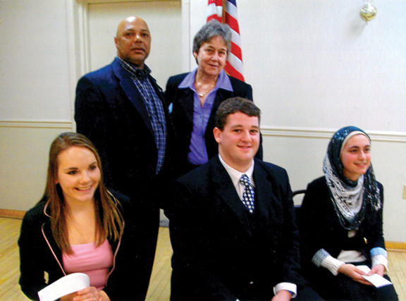 The Western Maryland district-level, high school oratorical scholarship contest was held Feb. 23 in Woodsboro, Md., at American Legion Post 282. Attiya Latif placed first and advances to the state-level contest at Towson University. Front row, from left, Rachel Kneebone, Carroll County, second place; Jeb Cliber, Frederick County, third place; and Latif, Washington County, first place. Back row, Ron Govans, district commander, and Ethel Leffingwell, oratorical chairwoman. Latif also won at the legion level and the county level.