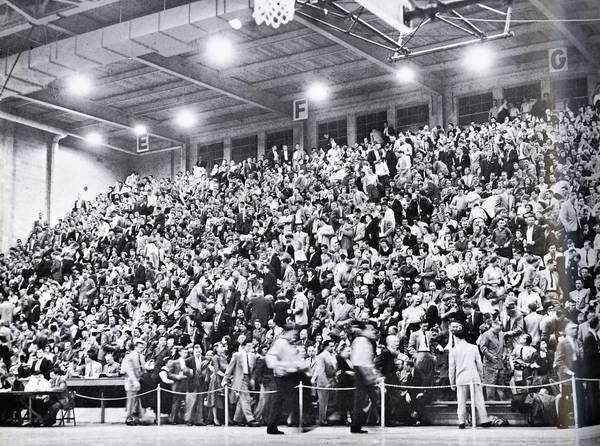 Muhlenberg College's Memorial Hall is packed for a big game in the 1950s.
