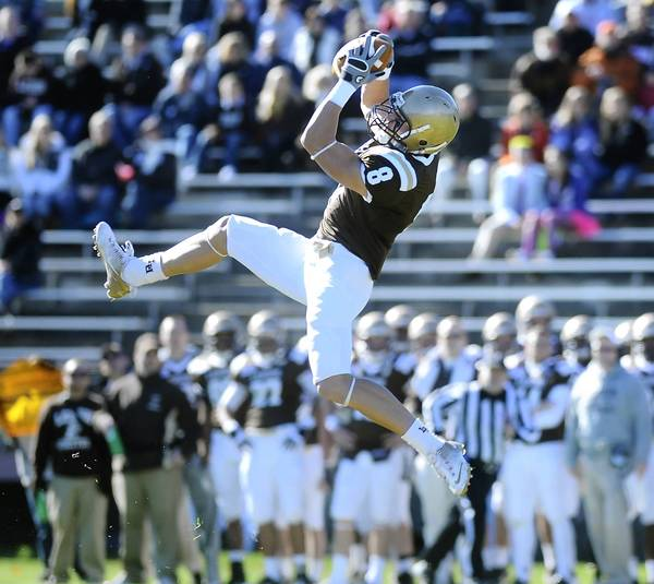 Lehigh's Ryan Spadola raised some eyebrows with his performance at the NFL Combine. He ran a 4.48 40 and did well in other tests.