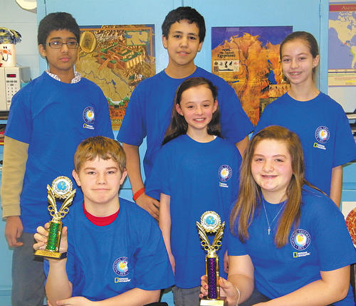 E. Russell Hicks Middle School recently held its school geography bee. Front row, runner-up Dustin Moats, Ella Stit and winner Cassandra Seifert. Back row, from left, Parth Metha, Thomas Henderson and Maddie Bowers.