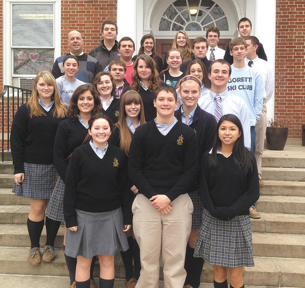 Front row, from left, St. Maria Goretti's Interact Club includes Denise Wells, Eric Pino and Monica Divinagracia. Second row, Emily Noe, Sarah Taylor and Lauree Lorensen. Third row, Lauren Rappaport, Megan Lynch and Kieran Lorenz. Fourth row, Emma Whelan, Mustafa Asad, Autumn McCusker and Alexis Barone. Fifth row, Richard Fairley (adviser), Brendan Bush, Drew Holderby, Morgan Kenworthy, Jordan Patterson and Aaron Snook. Back row, Ian Fairley, Rachel Keenan, Cecelia Trybus, Michael Bramson and Andrew Ambroz.