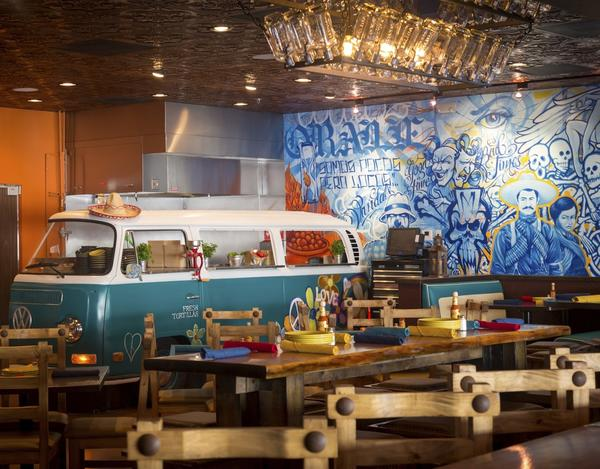 The interior of The Mexican includes an old VW bus which the sta