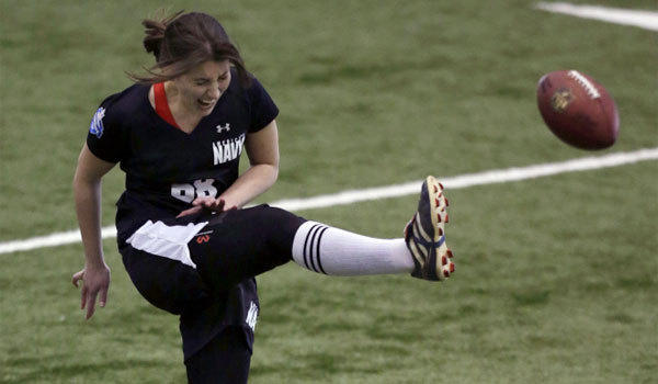 Lauren Silberman winces in pain during one of her two kicks at an NFL regional combine.