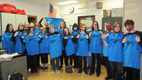 McHenry East Campus Students Participate in Ghost Out  During  Operation Click Safe Driving Week