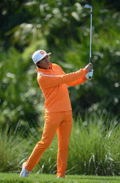 Rickie Fowler of USA plays a shot during the final round of the Honda Classic on March 3, 2013 in Palm Beach Gardens, Florida.