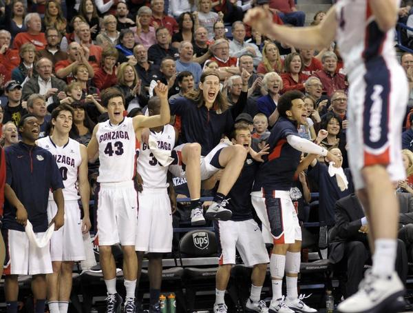 The Gonzaga bench reacts after the Bulldogs' win over Portland.