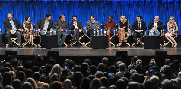 Photo of cast and producers of The Walking Dead courtesy of Samsung Galaxy, during the Paley Center for Media's PaleyFest.