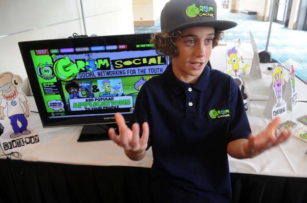 "Zach Marks, 12, of Melbourne, invented GromSocial, a Facebook-like social media site for kids.  <br> <br> The site offers a free, parent-monitored social networking alternative for children 16 and younger. Like other social media sites, it allows users to create a profile, chat, post photos and videos, and play games. But unlike sites like Facebook or Instagram, GromSocial.com also offers kid-friendly safety tips, tutoring help, anti-bullying and anti-drug/smoking messages, and breaking news and video on health and fitness, gaming, sports and entertainment. Monitored by a network of adult volunteers around the clock, GromSocial.com requires parents or guardians to approve every friend their children communicate with, and regular ""report cards"" are emailed to parents detailing whom their kids interacted with and what subjects were discussed. No cursing is permitted. <br> <br> Marks said he came up with the idea after getting in trouble for starting up a Facebook account before reaching the required age of 13."