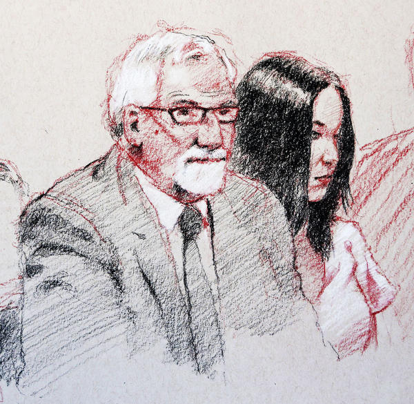 Courtroom sketch of attorney David Schrader, left, and Casey Anthony in Federal Court at Tampa, Florida Monday, March 4, 2013.