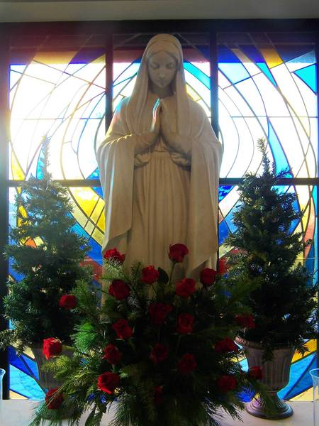 Our Lady of the Woods Parish at 10731 W. 131st St., in Orland Park has attracted roughly 2,700 families as members. Behind the statue of Mary is the new stained glass window dedicated to the parish in June 2012 to honor the work of previous pastor Father Michael O'Connell.
