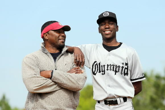 Olympia junior right-hander Nick Gordon, an FSU commit, is the son of former major-league pitcher Tom Gordon, left. Nick Gordon is playing mostly shortstop this season to rest his right arm. (Ricardo Ramirez Buxeda, Orlando Sentinel)