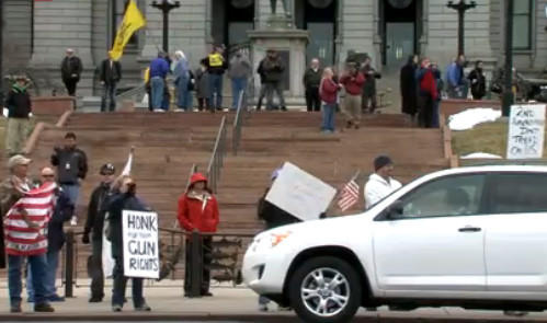 The issue of gun control was on display outside Colorado's Capitol building in Denver.