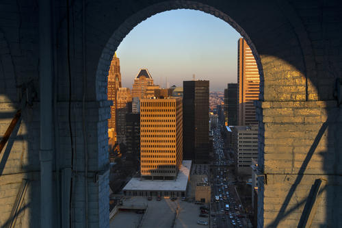 A view of the Baltimore, Md., skyline is shown through the arches of the Bromo Seltzer Tower on Feb. 14. Tours of the clock tower are offered twice a month, but at this time there is no access beyond the clock.