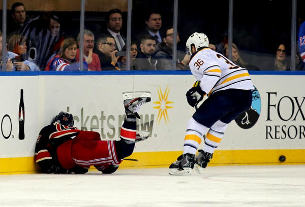 Sabres forward Patrick Kaleta, right, was suspended five games by the NHL for his hit on New York Rangers' Brad Richards.