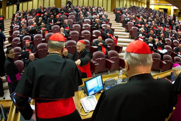 Cardinals Tarcisio Bertone, left, and Angelo Sodano attend opening talks at the Vatican ahead of a conclave at which cardinals will elect a successor to Pope Benedict XVI.