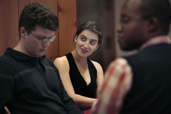 Sophomore Marianna Agudelo, 19, of Atlanta, who is studying biology, attends a table manners workshop at MIT.