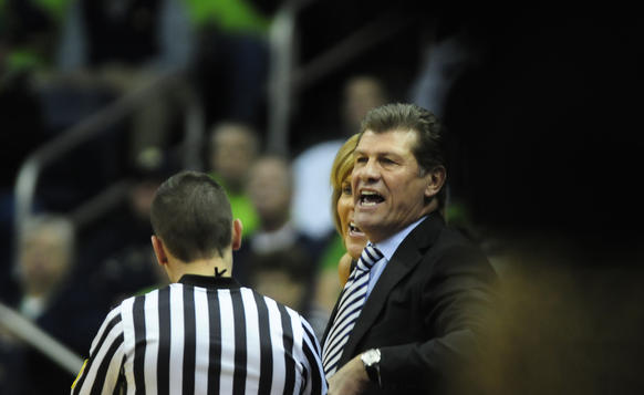 UConn coach Geno Auriemma gets called for a technical foul in the first half in South Bend, Ind.