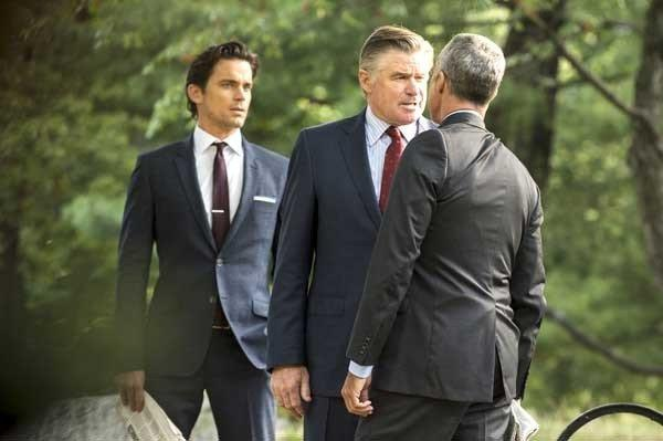 "Matt Bomer, left, Treat Williams and Titus Welliver in the season finale of ""White Collar"" on USA"