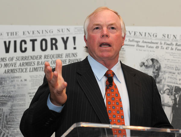 Orioles manager Buck Showalter receives the Marylander of the Year award from The Baltimore Sun on Monday night.