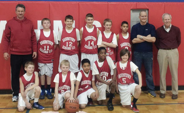 Hagerstown Exchange, of the Hagerstown Junior Basketball League's Elementary Division, recently won the league championship. After going 11-2 in the regular season, Hagerstown Exchange went 3-0 in the playoffs to win the title. From left to right are: Front row -- Colby Knight, Ethan Payne, Lyle Langan, Michael Murray and Michael Gronholm. Back row -- Kevin Walters (coach), Corey Walters, Scott Neal, Jake Mull, Spencer McNamee, Drew Lorshbaugh, Craig Knight (coach) and Bob Grove (head coach).