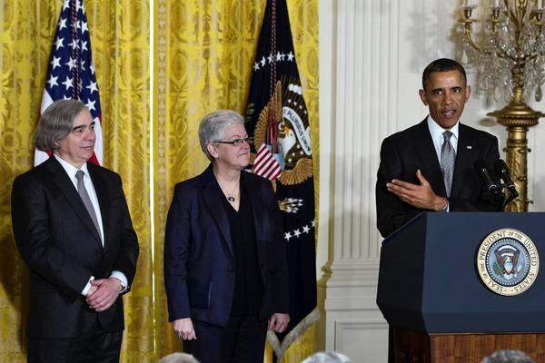President Obama announces his nominations of Ernest J. Moniz, far left, to lead the Energy Department and Gina McCarthy, second from left, to run the Environmental Protection Agency.