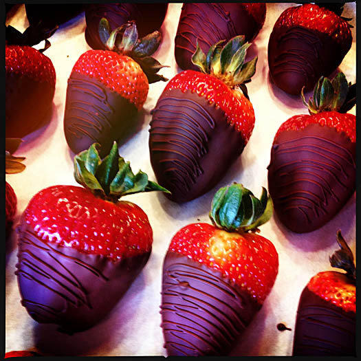 Chocolate-covered strawberries are photographed with an iPhone 4S.