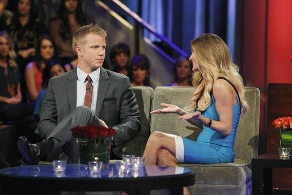"AshLee confronts Sean during the ""Women Tell All"" episode of ""The Bachelor."""
