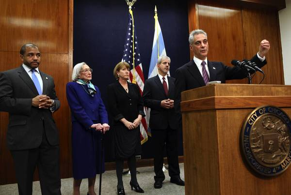 Chicago Mayor Rahm Emanuel with members of his ethics reform task force, Ald. William Burns, 4th, from left, Dawn Clark Netsch, Cynthia Canary, Chair, and Sergio Acosta, released the first part of their recommendations.