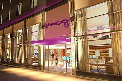 A mockup of a Moxy hotel, set to be launched by Marriott and Ikea.