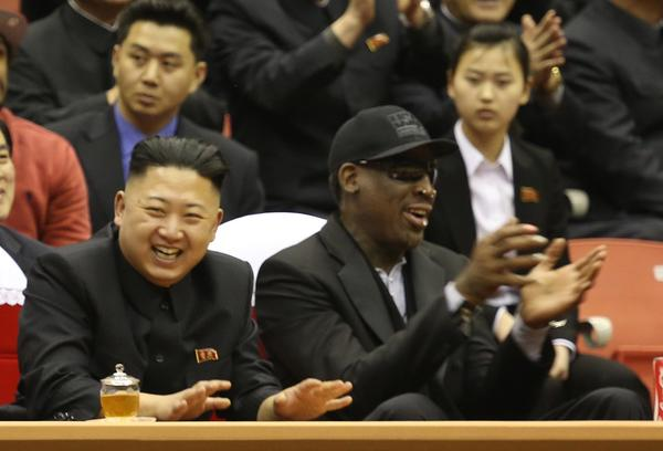North Korean leader Kim Jong Un and former NBA star Dennis Rodman took in an exhibition basketball game in Pyongyang.