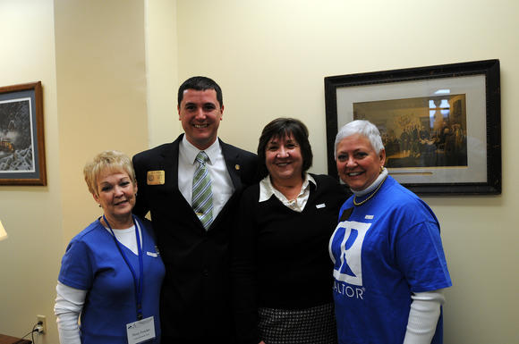 Members of the Central Kentucky Board of Realtors met with state Rep. David Meade of Stanford on Feb. 13 while attending the Kentucky Association of Realtors rally in Frankfort. From left are Sissy Fowler, Nina Kirkland and Linda Sparrow.