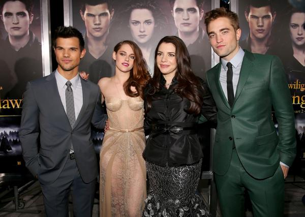 Premiere: 'Twilight Saga: Breaking Dawn -- Part 2': Actors Taylor Lautner, Kristen Stewart, author Stephenie Meyer, and actor Robert Pattinson arrive at the premiere of Summit Entertainments The Twilight Saga: Breaking Dawn - Part 2 at Nokia Theatre L.A. Live.