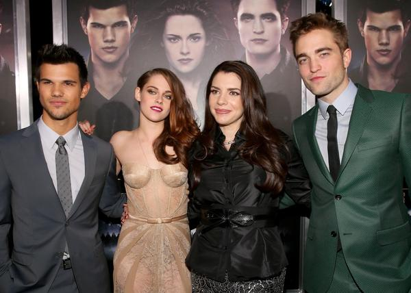 "Actors Taylor Lautner, Kristen Stewart, author Stephenie Meyer, and actor Robert Pattinson arrive at the premiere of Summit Entertainment's ""The Twilight Saga: Breaking Dawn - Part 2"" at Nokia Theatre L.A. Live."