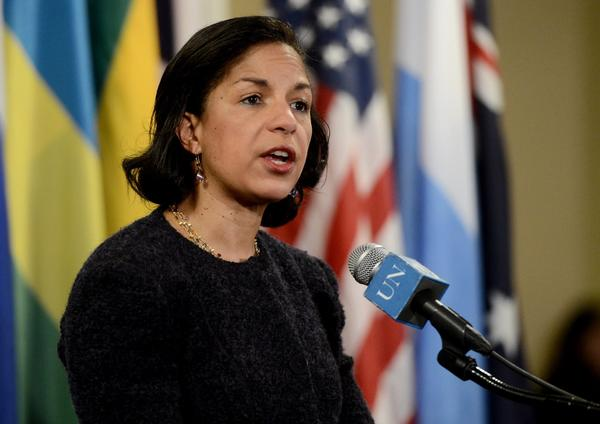 Susan Rice, U.S. ambassador to the United Nations, talks with reporters after informal Security Council consultations in New York on Tuesday.