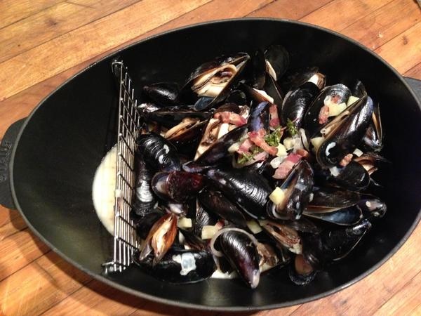 "Mussels with bacon, apple and shallot pair beautifully with a premier cru Chablis from William Fevre. The recipe is from Seattle chef John Sundstrom's new book ""Lark: Cooking Against the Grain."""