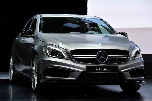 The new Mercedes-Benz A 45 AMG on display at the 83rd Geneva Motor Show.
