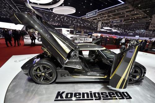 The new Koenigsegg Agera S - Hundra is shown during press day at the 83rd Geneva Motor Show.