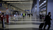 O'Hare International Airport shows few travelers after flights were canceled due to the snow.
