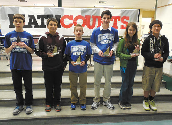 This photo shows the top six finishers in the MathCounts competition. From left, Gunnie Margrabe, first place, Boonsboro Middle; Nolan Andreassen, sixth place, Bishop Walsh; Clay Hoover, fifth place, Braddock Middle; Nathan Bruck, fourth place, Braddock Middle; Elizabeth Whitmore, third place, Clear Spring Middle; and Eugene Kim, second place, Springfield Middle.