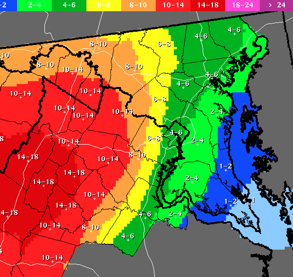 The National Weather Service was forecasting 4-6 inches of snow to the west of Interstate 95 from Tuesday night through Thursday morning.