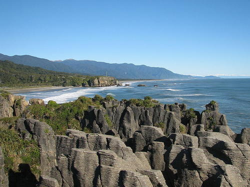 Pancake Rocks lies along the Tasman Sea.