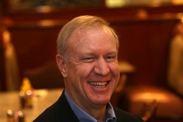 Bruce Rauner talks with John Kass Feb 27, 2013 in Chicago about his potential bid for governor of Illinois. (Nancy Stone/Chicago Tribune)