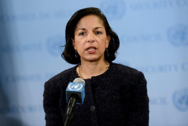 Susan Rice, U.S. ambassador to the United Nations, talks with reporters after informal consultations of the U.N. Security Council in New York on Tuesday.
