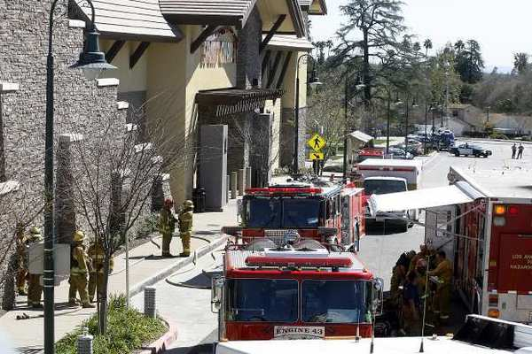 Los Angeles County Fire responded to an explosion, injuring two, at Sport Chalet in La Canada Flintridge.