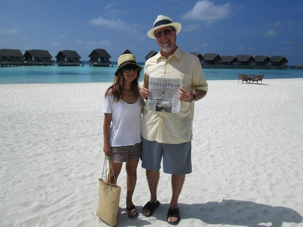 Newport Beach residents Mary Shiratori and Laith Ezzet in the Maldives.