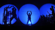 The percussive antics of the Blue Man Group