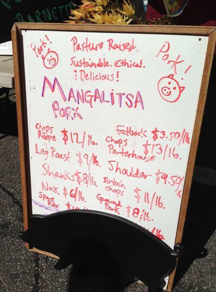 New at the Santa Monica Farmers Market: Mangalitsa pork from Peads & Barnetts.