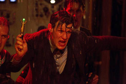 Things must be scary of the 11th Doctor (Matt Smith) is busting out his sonic screwdriver.